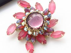 Vintage Rhinestone Brooch  Pink AB Givre Frosted by ERAtiqueJewels, $36.00