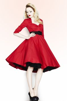Bunny - 50s Momo swing dress Red Black polka dot