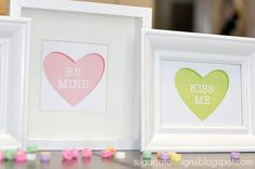 framed conversation hearts! (free print)