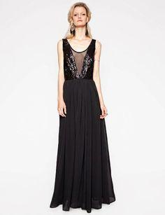 Black Maxi Dress - Red Carpet Dress - Sequins Prom Dress - $112