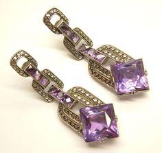 Art Deco Theodor Fahrner Costume Jewelry Sterling Silver Amethyst Marcasite Earrings