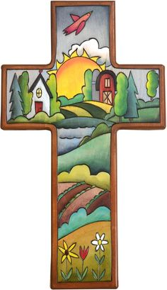 Cross Plaque – Cross Plaque with home and barn and sunset on the horizon Mosaic Crosses, Wooden Crosses, Wall Crosses, Us Labor Day, Blackboard Art, Easter Cross, Religious Cross, Country Paintings, Sunday School Crafts