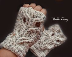 Fingerless Owl Mitts, free crochet pattern as part of November 2014 - January 2015 crochet a long on Facebook