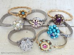 Jeweled Corsage Bracelets vintage earrings, expansion watch bands