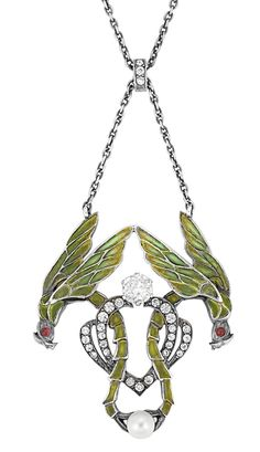 Art Nouveau Silver Gilt, Silver, Enamel, Simulated Diamond and Pearl Lavaliere   With French assay mark. Length 16 1/2 inches.