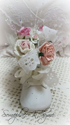 Sweet Baby Shoe Pincushion-baby shoe, pincushion, roses, pink and white, vintage, ribbon, paper roses, handmade roses, handmade, gift, pearls, cottage, baby gift, beads, pins,