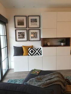 Ikea Living Room, Living Room Update, Condo Living, Living Room Interior, Home And Living, Ikea Interior, Interior Design, Built In Shelves Living Room, Floor To Ceiling Cabinets