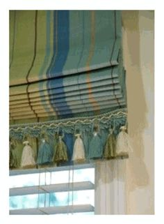 Striped Roman Shades, custom sizes, available with trim 12 fabrics.