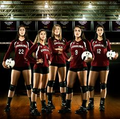 Team Volleyball pose - give all the girls a ball and have the one in the middle hold her ball out with both hands.