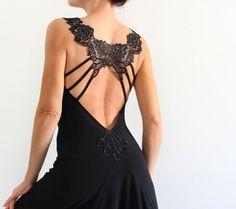 Tango elegante abito nero schiena scoperta con di CrinolinAtelier