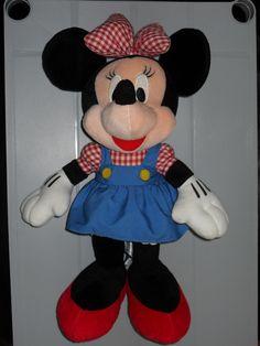 Disney Mickey Mouse Rare Vintage Brown Maroon Plush