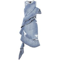 Asymmetrical Ruffled Denim Dress