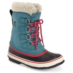 SOREL 'Winter Carnival' Boot ($130) ❤ liked on Polyvore featuring shoes, boots, mid-calf boots, snow boots, lace up boots, front lace up boots, faux fur lined boots and water proof snow boots