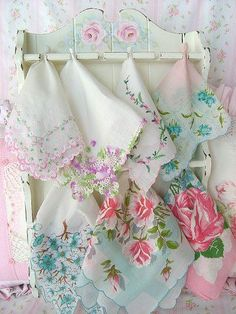 wonderful way to display floral hankies . . . .