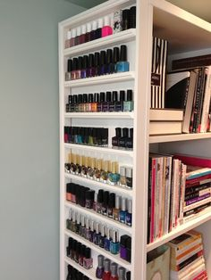 This blogger built a nail polish storage rack by adding strips of wood trim to the side of a bookcase. Beautiful and functional!