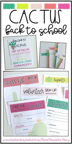 Meet the Teacher, Back to School Night, and Open House all made EASY with this Back to School Set from Samantha Henry! Perfect to match your Cactus Classroom Decor!