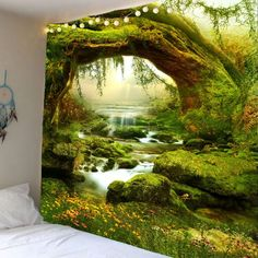 Forest Streams Print Wall Hanging Tapestry - Green W91 Inch * L71 Inch Mobile