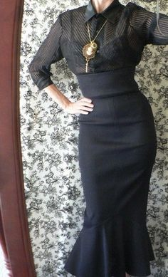 High Waist Burlesque Hobble Wiggle Skirt with Fishtail, custom made all sizes. $133.00, via Etsy.: