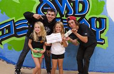 Shawn Hatjes, Kiala Nelson, Lucy English, and Zane Keith at Grind Out Hunger Headquarters in Santa Cruz.
