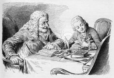 19th century illustration of a old man and boy reading