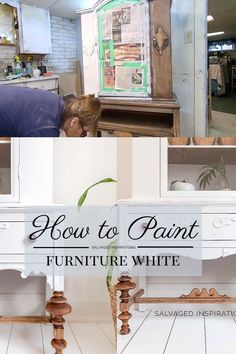 White Painted Furniture, Paint Furniture, Furniture Makeover, Hutch Makeover, Furniture Refinishing, Painting Wood White, Chalk Painting, Painting Tips, Diy Furniture Projects