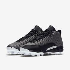 016f2bb16fa3 Jordan XII Retro MCS Mens Baseball Cleats 15 Black White Silver 854566 010   Jordan