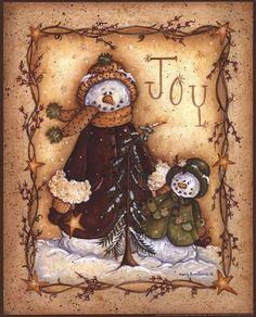 Snow Folk Joy Art Print by Mary Ann June at Urban Loft Art