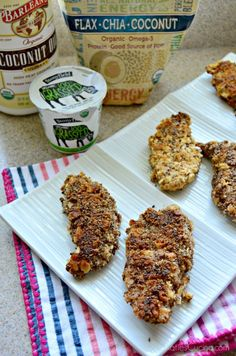 If your looking to try something new and have a picky toddler like me try this easy Flax Chia Coconut Yogurt Chicken Strips recipe. You don't have to tell you family that title–we can keep it a secret. Tell them they're having homemade chicken strips for dinner! The flax chia coconut organic blend combines nature's most nutrient-dense superfoods: Premium Ground Flaxseed, Chia Seed and Coconut, it's high in Omega-3, and contains dietary fiber & plant-based protein. #recipe #pickyeaters #barleans Healthy Chicken Strips, Homemade Chicken Strips, Chicken Strip Recipes, Coconut Protein, Coconut Yogurt, New Recipes For Dinner, Great Recipes, Flax Seed Oatmeal, Butter Crackers