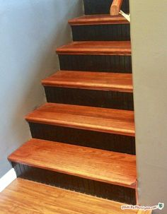 Learn how to install Stair Tread Caps to give your carpeted stairway a hardwood makeover!