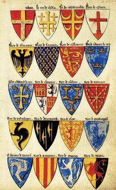«Segar's Roll», English Roll of arms, c. 1282. College of Arms. -- 20 arms of monarchs as follows, rows from top left: 1 (Pope?) 2 (Jerusalem) 3 Constantinoble 4 Grece 5 Almayne 6 Fraunce 7 Engleterre 8 Seynt Edmun(d) le Rey 9 Seynt Edward le Rey 10 Espaygne 11 Galyce 12 Navvare 13 Palialogre 14 Denemarche 15 Escoce 16 Portingal 17 Tartari 18 Aragonne 19 Ermeny  20 Egipte.