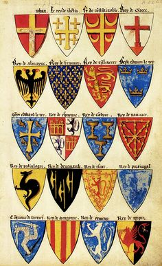 «Segar's Roll», English Roll of arms, c. 1282. College of Arms. -- 20 arms of monarchs as follows, rows from top left: 1 (Pope?) 2 (Jerusalem) 3 Constantinoble 4 Grece 5 Almayne 6 Fraunce 7 Engleterre 8 Seynt Edmun(d) le Rey 9 Seynt Edward le Rey 10 Espaygne 11 Galyce 12 Navvare 13 Palialogre 14 Denemarche 15 Escoce 16 Portingal 17 Tartari 18 Aragonne 19 Ermeny  20 Egipte.