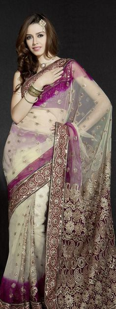 Brown Net Saree With Unstitched Blouse