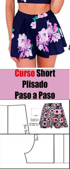 Short Paso a Paso - Alive Tutorial and Ideas Sewing Patterns Free, Clothing Patterns, Dress Patterns, Shorts Diy, Micro Skirt, Sewing Lessons, Baby Pants, Fashion Design Sketches, Pants Pattern