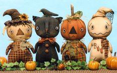 Szczęśliwi serca Stumpkins w Pumpkin Patch Wzór Hutch nadziewane prymitywne rzemiosło wzór tkaniny lalki duch czarny kot wróble