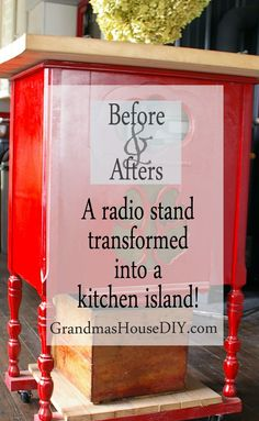 A radio stand transformed into a red kitchen island with rustoleum spray paint…
