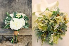 Bouquet on left - white flowers with accents of sage and rosemary. So pretty.