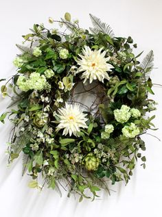 Elegant Spider Mums, Luxury Front Door Wreath
