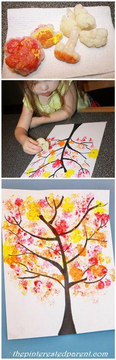 Peinture avec des bouquets de chou-fleurs