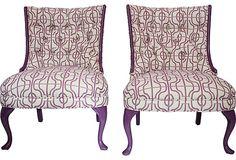 Tufted Purple, Lavender & White Slipper Chairs
