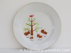 Personalized Reindeer Thumbprint Christmas Plate Craft - Fancy Shanty