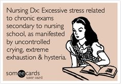 Nursing Dx: Excessive stress related to chronic exams secondary to nursing school, as manifested by uncontrolled crying, extreme exhaustion & hysteria.