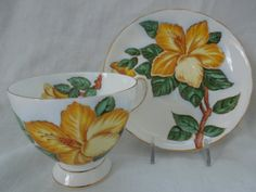Vintage England Tuscan Footed Cup Saucer Yellow by ColorfullGifts