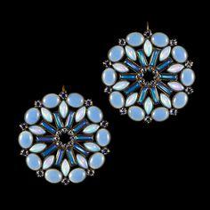 Konplott 'Ethnic Mosaic' Large Disk Blue Mosaic Hook Earrings (103983) | Alexandra May Jewellery