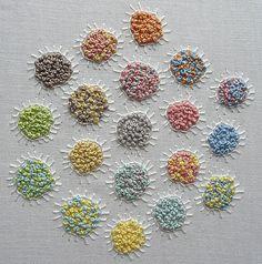 Fiona Dix colour blending  OCA Textiles 1, section 2, using pastel colours. French knots and buttonhole stitch.