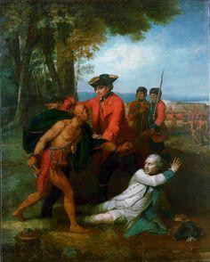 Le Général Johnson sauvant un officier français blessé du tomahawk d'un Indien d'Amérique du Nord du peintre britannique Joseph Wright of Derby