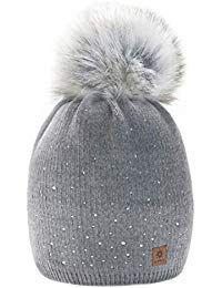 Beige morefaz Femme Beanie Cristaux Chapeau Hat Crystal Grande Pom Pom Bonnet dhiver Chaud Doublure Polaire MFAZ Ltd