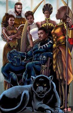 Pantera Negra e Familia by Musetap Art Studio Black Panther Marvel, Shuri Black Panther, Black Panther Art, Nakia Black Panther, Marvel Comics, Marvel Heroes, Black Love Art, Black Girl Art, Comic Kunst