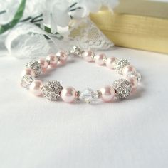 Peach Sworovski Pearl and Crystal Bracelet with Focal Alloy Rhinestone Ball Bead with Earrings