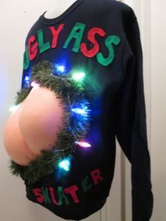 Light Up Ugly-Ass Christmas Sweater | Funny |Butt Ugly. 3-D Tacky Christmas Sweater size xl xxl 1x 2x Ships in 48 hours or less