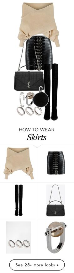 """""""Untitled #20616"""" by florencia95 on Polyvore featuring WithChic, Stuart Weitzman, Yves Saint Laurent, Cartier, ASOS and Jil Sander"""